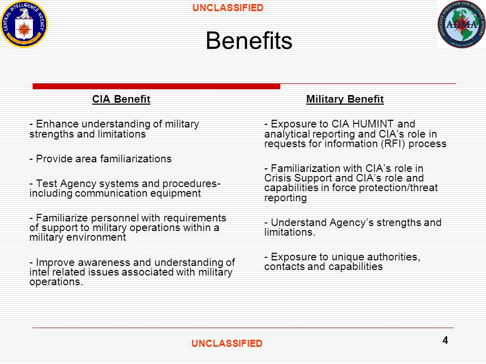 UNCLASSIFIED 4 Benefits CIA Benefit - Enhance understanding of military strengths and limitations - Provide area familiarizations - Test Agency systems and procedures- including communication equipment - Familiarize personnel with requirements of support to military operations within a military environment - Improve awareness and understanding of intel related issues associated with military operations.