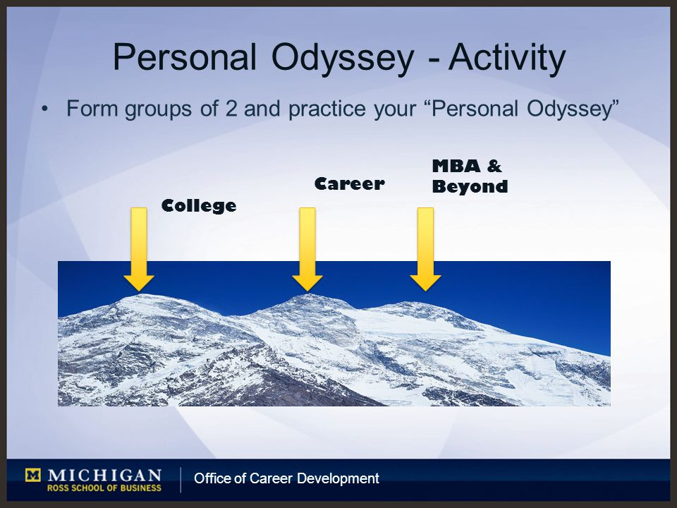 Office of Career Development Personal Odyssey - Activity Form groups of 2 and practice your Personal Odyssey College Career MBA & Beyond