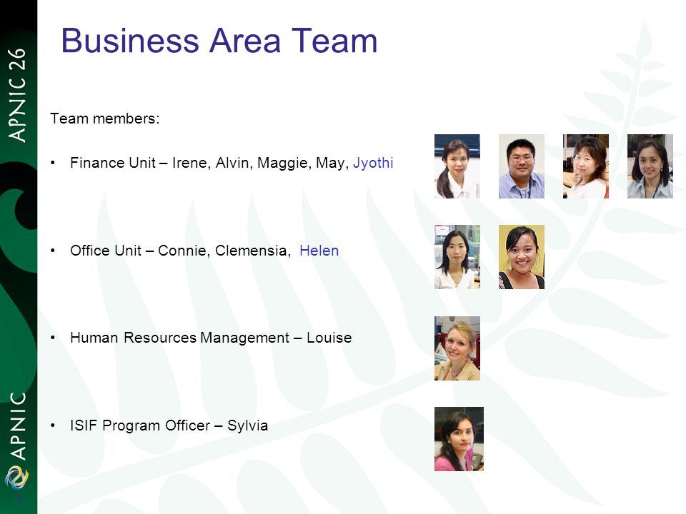 Business Area Team Team members: Finance Unit – Irene, Alvin, Maggie, May, Jyothi Office Unit – Connie, Clemensia, Helen Human Resources Management –