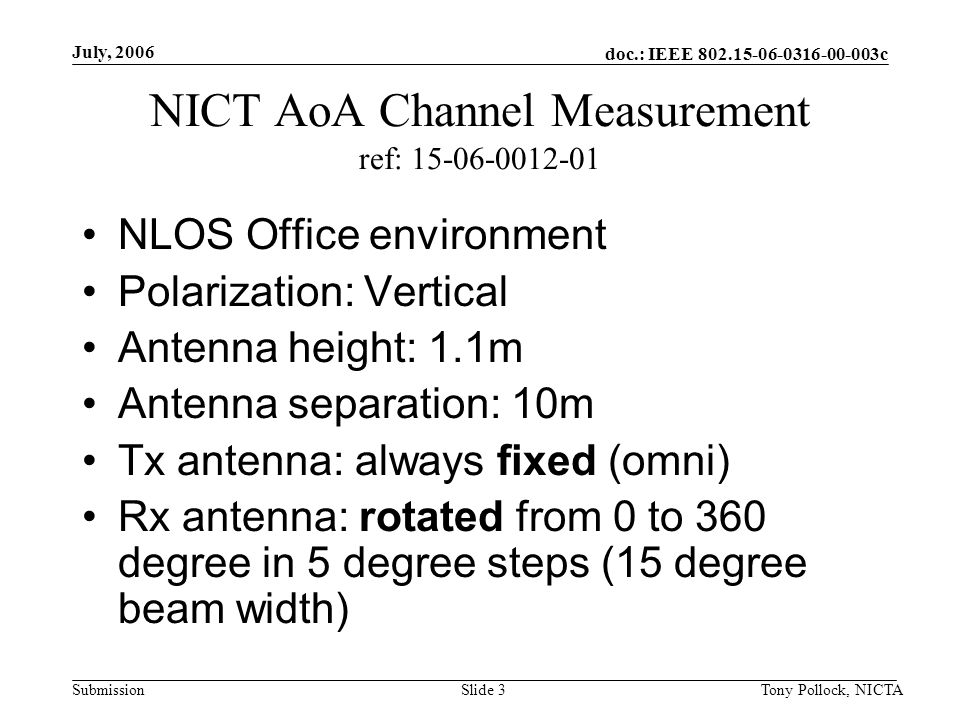 doc.: IEEE 802.15-06-0316-00-003c Submission July, 2006 Tony Pollock, NICTASlide 3 NICT AoA Channel Measurement ref: 15-06-0012-01 NLOS Office environment Polarization: Vertical Antenna height: 1.1m Antenna separation: 10m Tx antenna: always fixed (omni) Rx antenna: rotated from 0 to 360 degree in 5 degree steps (15 degree beam width)