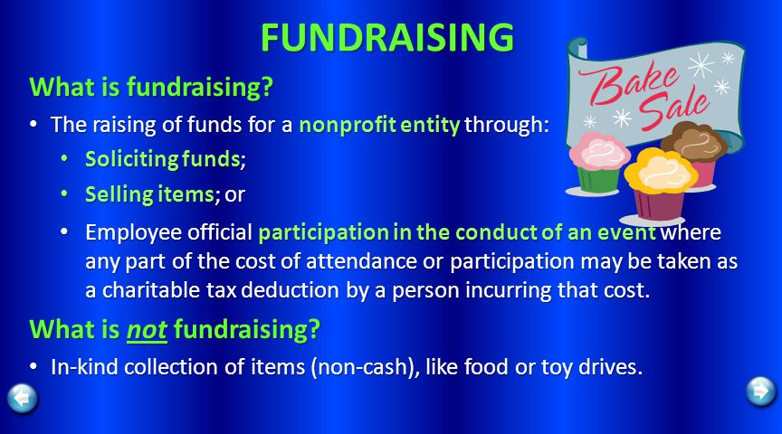FUNDRAISING What is fundraising? The raising of funds for a nonprofit entity through: The raising of funds for a nonprofit entity through: Soliciting