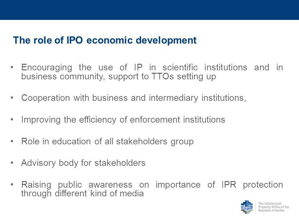 The role of IPO economic development Encouraging the use of IP in scientific institutions and in business community, support to TTOs setting up Cooperation with business and intermediary institutions, Improving the efficiency of enforcement institutions Role in education of all stakeholders group Advisory body for stakeholders Raising public awareness on importance of IPR protection through different kind of media
