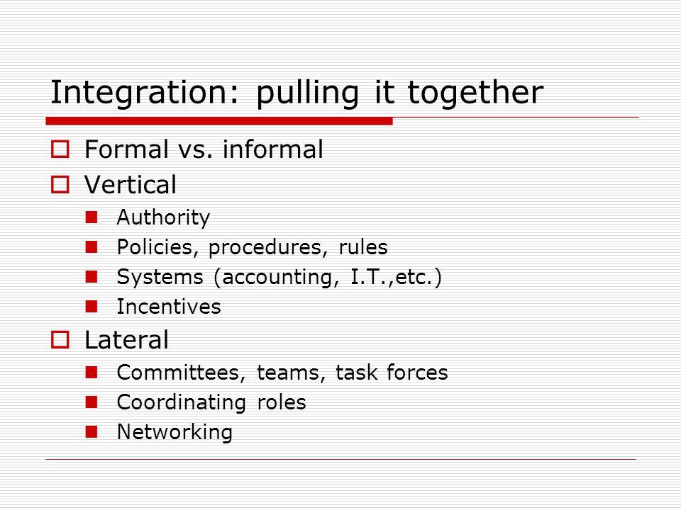 Integration: pulling it together Formal vs.