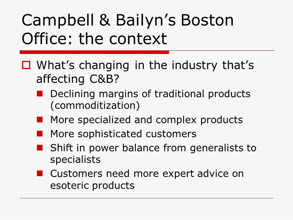 Campbell & Bailyns Boston Office: the context Whats changing in the industry thats affecting C&B.