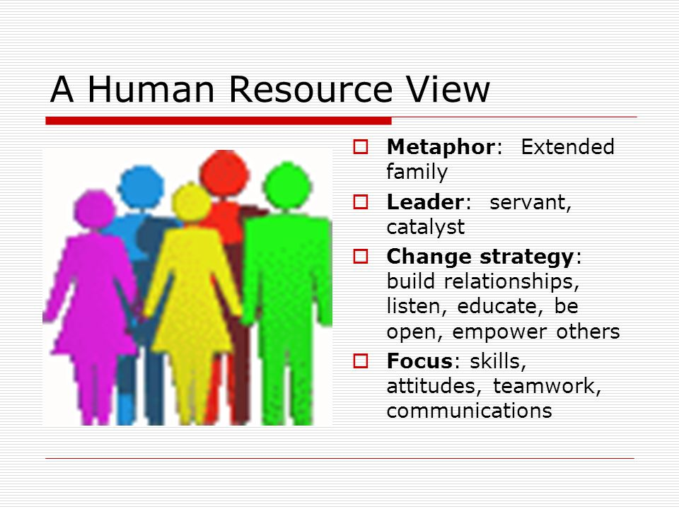 A Human Resource View Metaphor: Extended family Leader: servant, catalyst Change strategy: build relationships, listen, educate, be open, empower othe
