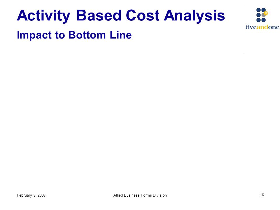 February 9, 2007Allied Business Forms Division 16 Activity Based Cost Analysis Impact to Bottom Line