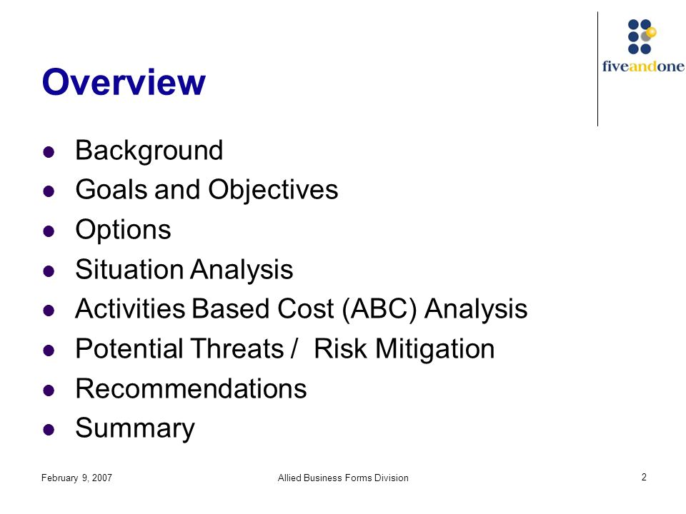 February 9, 2007Allied Business Forms Division 2 Overview Background Goals and Objectives Options Situation Analysis Activities Based Cost (ABC) Analysis Potential Threats / Risk Mitigation Recommendations Summary
