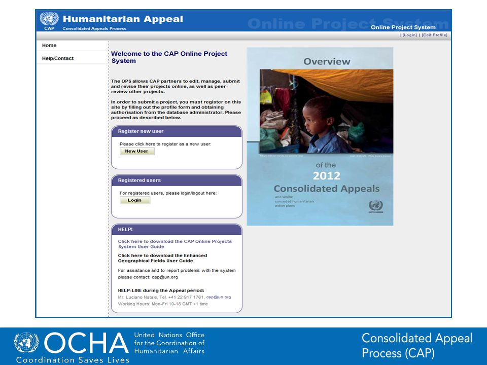 2Office for the Coordination of Humanitarian Affairs (OCHA) CAP (Consolidated Appeal Process) Section