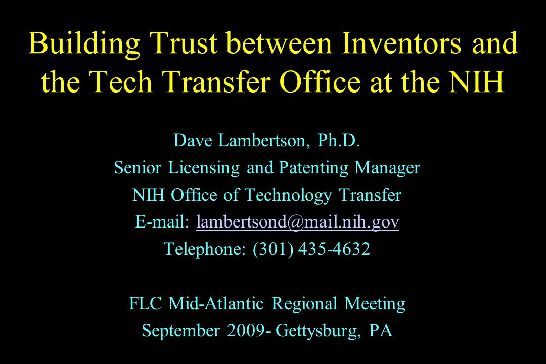 Technology Transfer Overview An invention with potential is generated in a lab The inventor presents their invention to the Technology Transfer Office (TTO) The TTO evaluates the invention and decides whether to pursue a patent or license for the invention The TTO monitors the invention and updates the inventor regarding the patent and licensing status of their invention