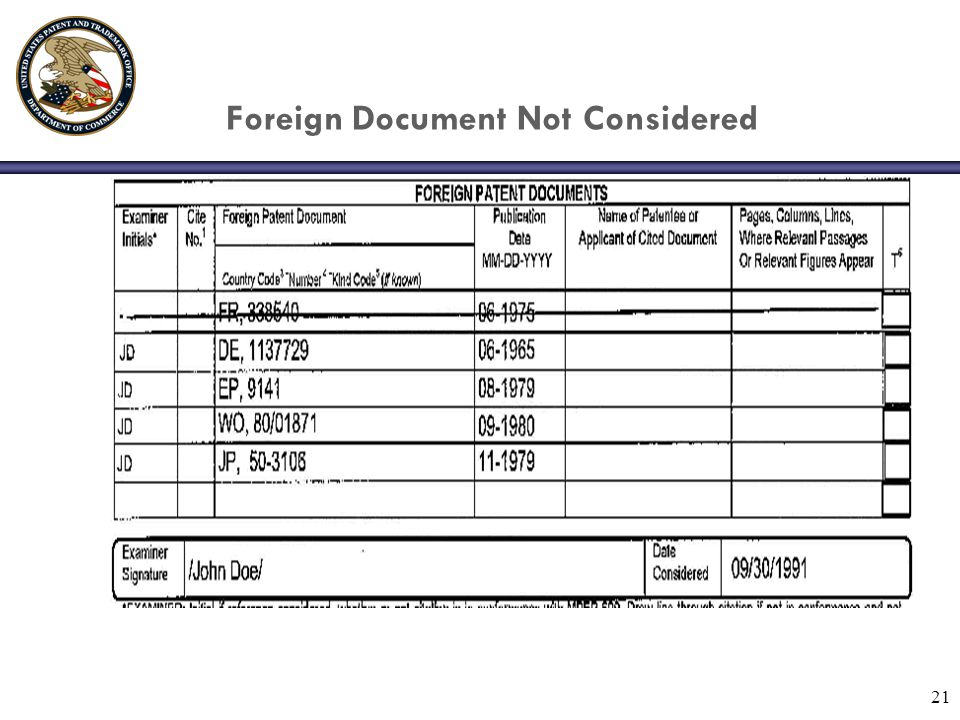 21 Foreign Document Not Considered