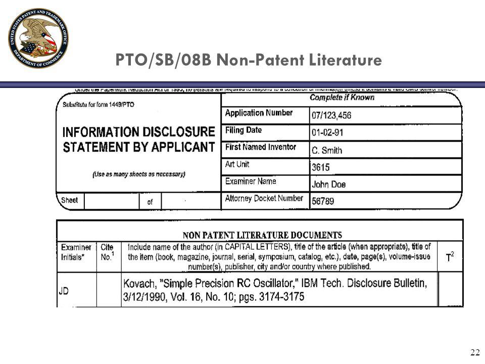 22 PTO/SB/08B Non-Patent Literature