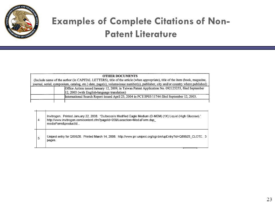 23 Examples of Complete Citations of Non- Patent Literature