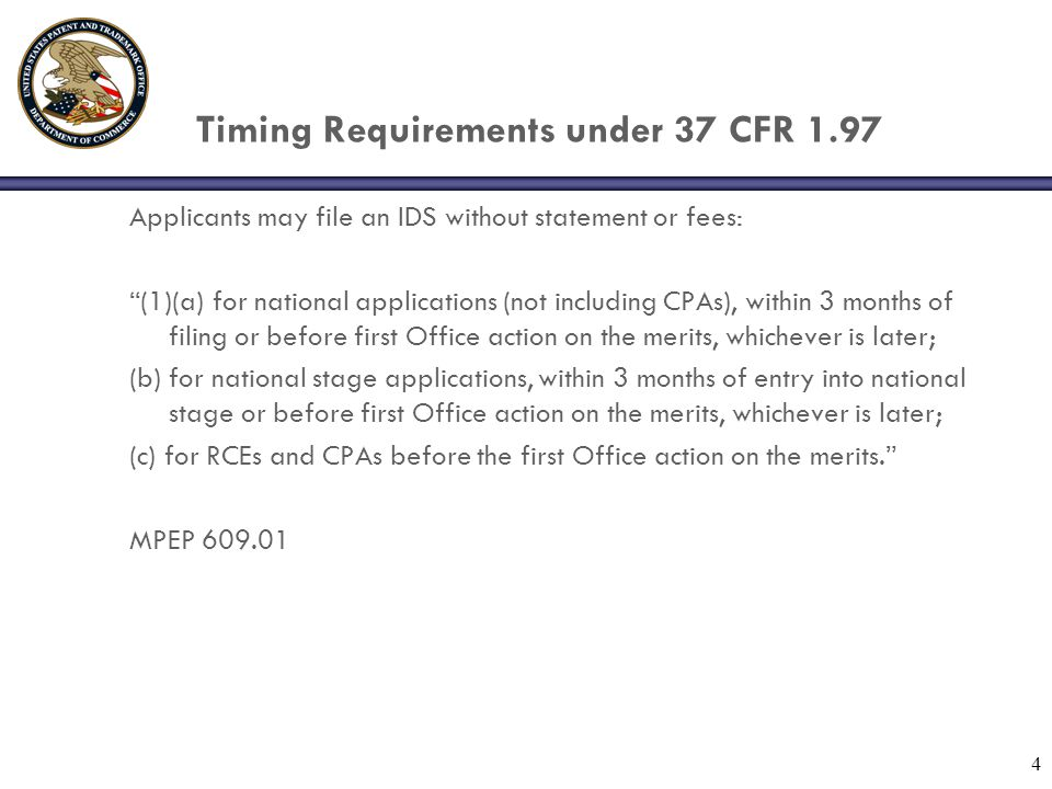 5 Timing Requirements under 37 CFR 1.97 (2) After (1) but before final action, notice of allowance, or Quayle action 1.97(e) statement or 1.17(p) fee.