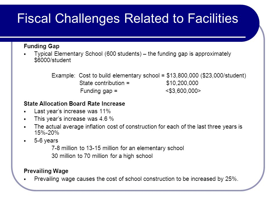 Fiscal Challenges Related to Facilities Funding Gap Typical Elementary School (600 students) – the funding gap is approximately $6000/student Example: Cost to build elementary school = $13,800,000 ($23,000/student) State contribution = $10,200,000 Funding gap = State Allocation Board Rate Increase Last years increase was 11% This years increase was 4.6 % The actual average inflation cost of construction for each of the last three years is 15%-20% 5-6 years 7-8 million to 13-15 million for an elementary school 30 million to 70 million for a high school Prevailing Wage Prevailing wage causes the cost of school construction to be increased by 25%.