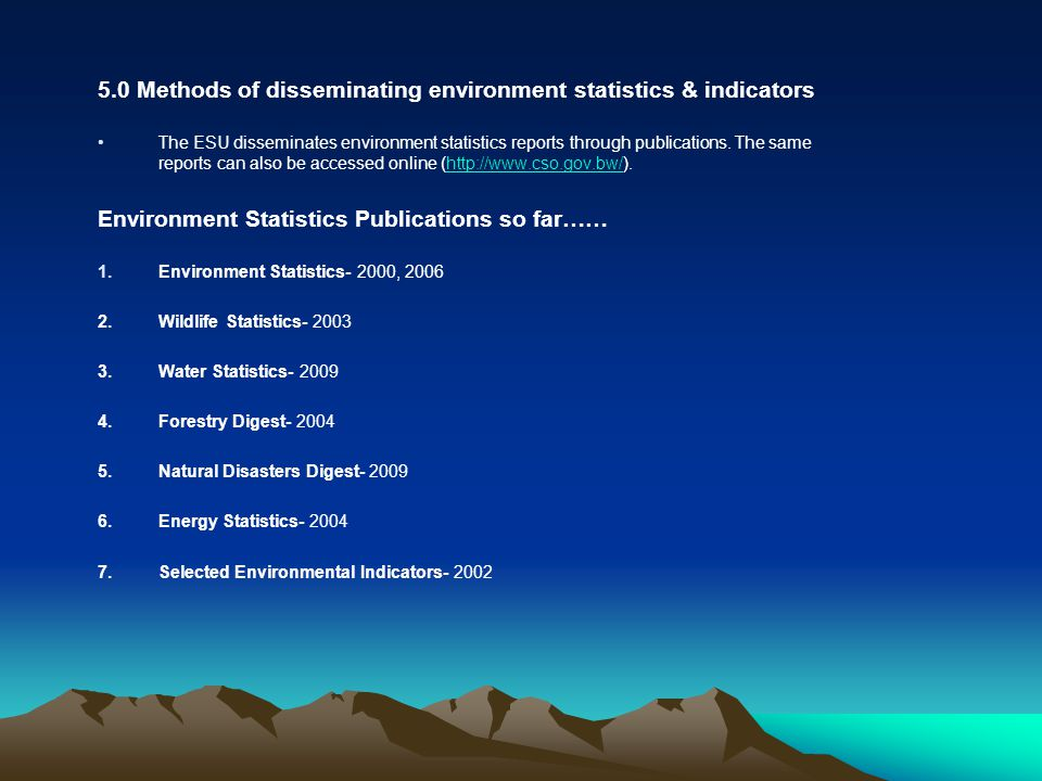Stakeholders collecting, compiling and disseminating environment data 1.