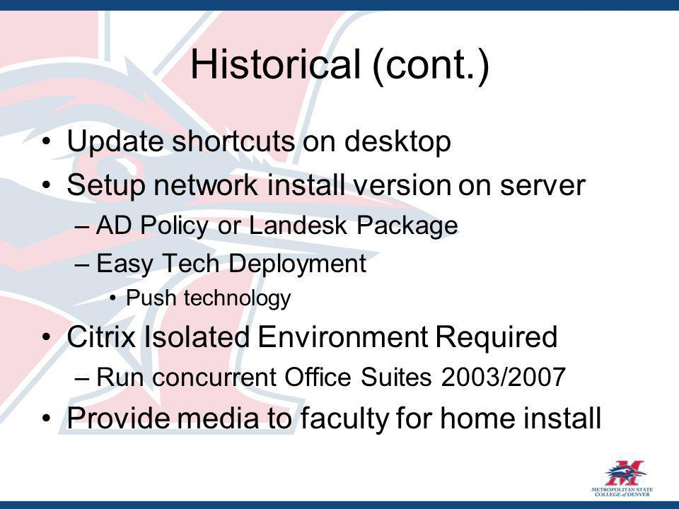 Historical (cont.) Update shortcuts on desktop Setup network install version on server –AD Policy or Landesk Package –Easy Tech Deployment Push technology Citrix Isolated Environment Required –Run concurrent Office Suites 2003/2007 Provide media to faculty for home install