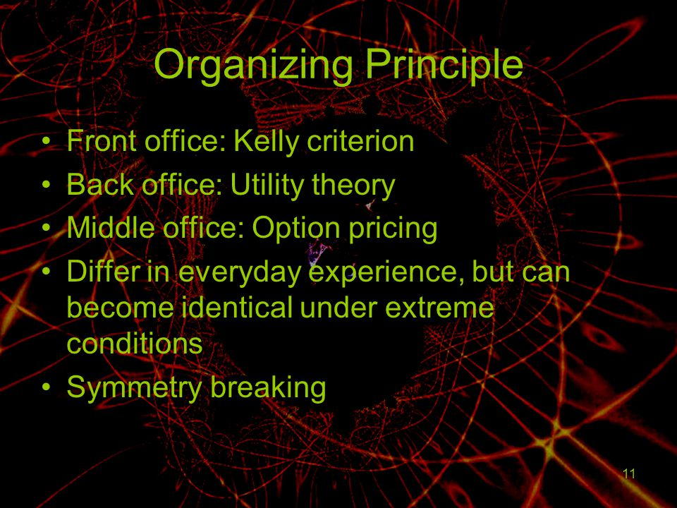 11 Organizing Principle Front office: Kelly criterion Back office: Utility theory Middle office: Option pricing Differ in everyday experience, but can