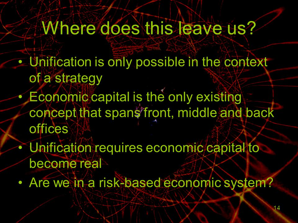 14 Where does this leave us? Unification is only possible in the context of a strategy Economic capital is the only existing concept that spans front,