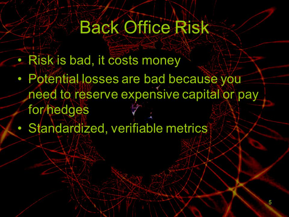 5 Back Office Risk Risk is bad, it costs money Potential losses are bad because you need to reserve expensive capital or pay for hedges Standardized,