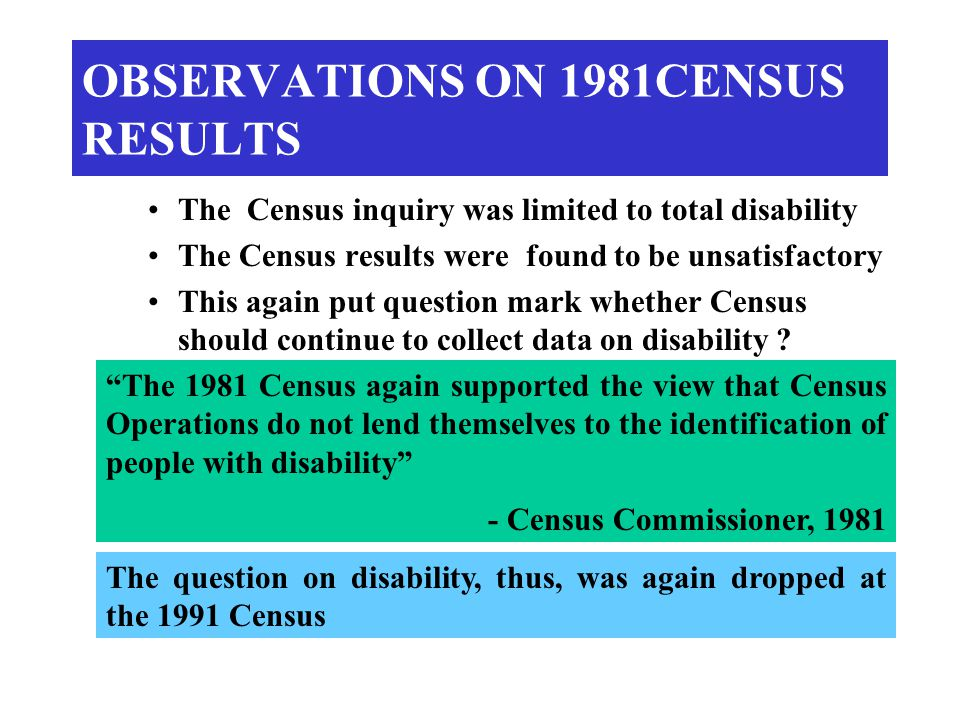 OBSERVATIONS ON 1981CENSUS RESULTS The Census inquiry was limited to total disability The Census results were found to be unsatisfactory This again put question mark whether Census should continue to collect data on disability .
