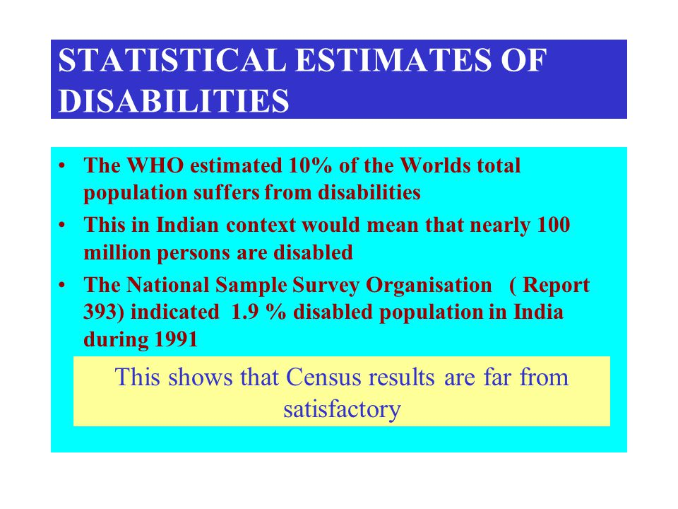 STATISTICAL ESTIMATES OF DISABILITIES The WHO estimated 10% of the Worlds total population suffers from disabilities This in Indian context would mean that nearly 100 million persons are disabled The National Sample Survey Organisation ( Report 393) indicated 1.9 % disabled population in India during 1991 This shows that Census results are far from satisfactory
