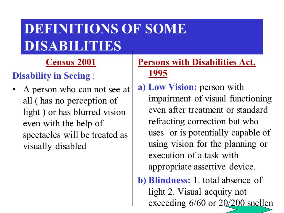 DEFINITIONS OF SOME DISABILITIES Census 2001 Disability in Seeing : A person who can not see at all ( has no perception of light ) or has blurred vision even with the help of spectacles will be treated as visually disabled Persons with Disabilities Act, 1995 a) Low Vision: person with impairment of visual functioning even after treatment or standard refracting correction but who uses or is potentially capable of using vision for the planning or execution of a task with appropriate assertive device.