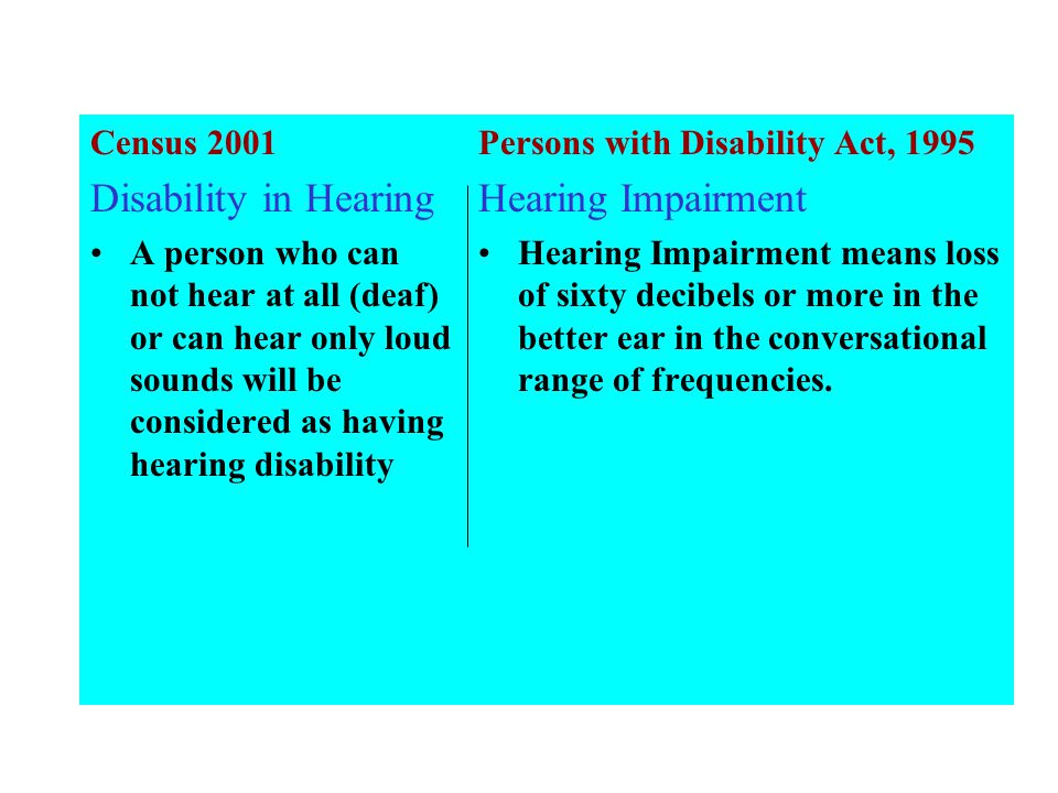 Census 2001 Disability in Hearing A person who can not hear at all (deaf) or can hear only loud sounds will be considered as having hearing disability Persons with Disability Act, 1995 Hearing Impairment Hearing Impairment means loss of sixty decibels or more in the better ear in the conversational range of frequencies.
