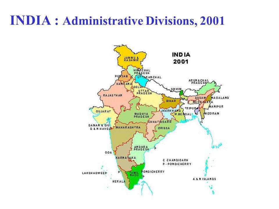INDIA : Administrative Divisions, 2001