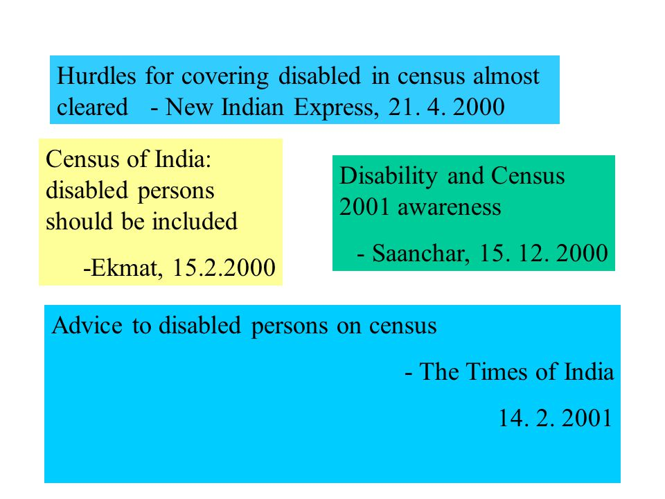 Hurdles for covering disabled in census almost cleared - New Indian Express, 21.