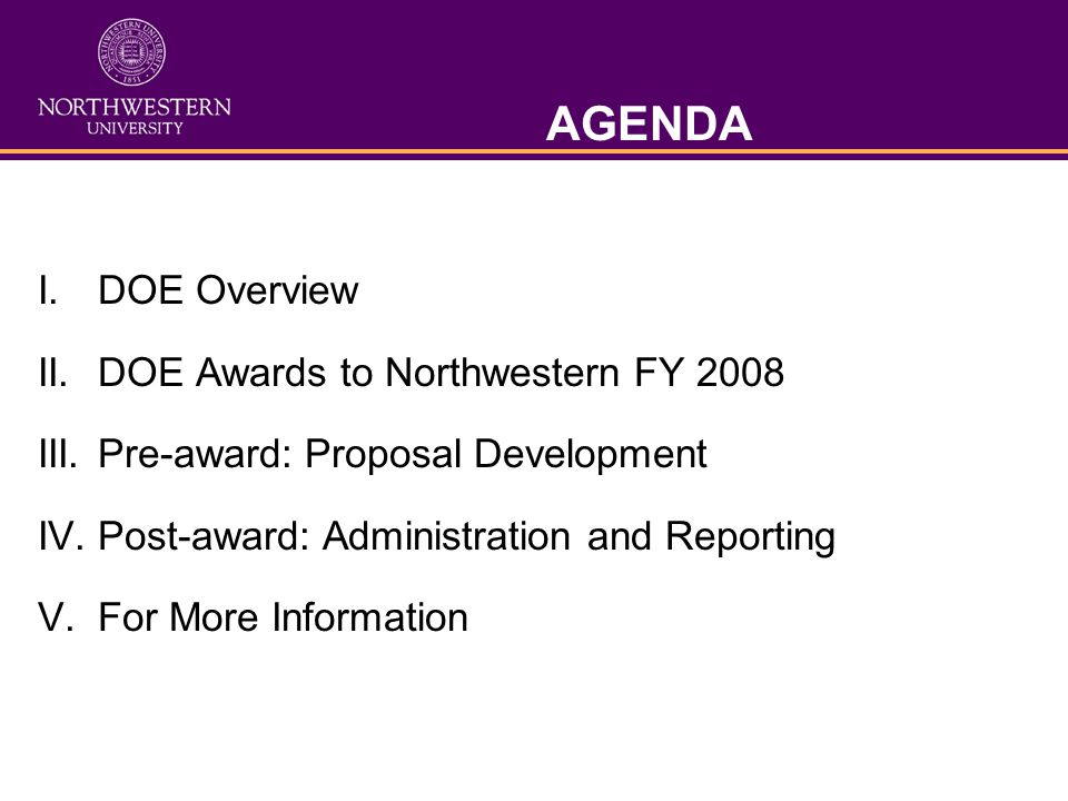 AGENDA I. DOE Overview II. DOE Awards to Northwestern FY 2008 III.