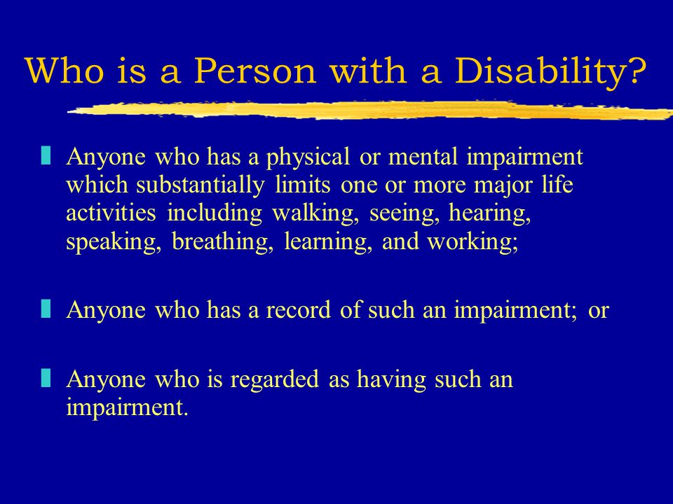 Who is a Person with a Disability.