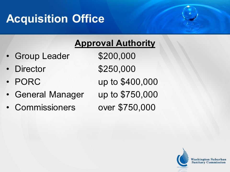 Acquisition Office Any Questions?