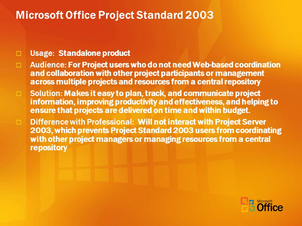 Microsoft Office Project Standard 2003 Usage: Standalone product Audience: For Project users who do not need Web-based coordination and collaboration with other project participants or management across multiple projects and resources from a central repository Solution: Makes it easy to plan, track, and communicate project information, improving productivity and effectiveness, and helping to ensure that projects are delivered on time and within budget.