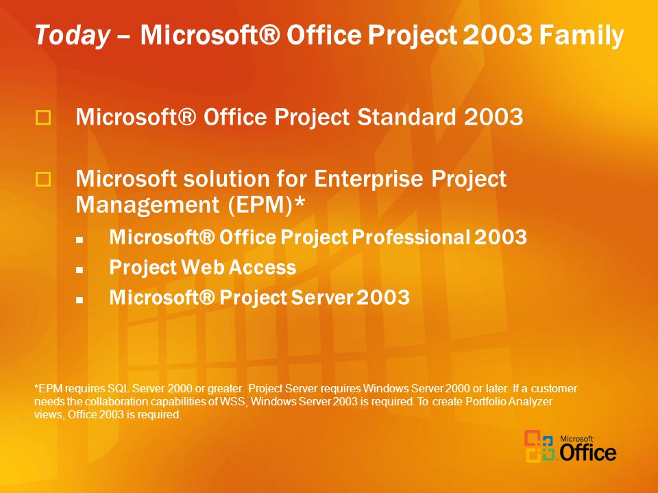 Today – Microsoft® Office Project 2003 Family Microsoft® Office Project Standard 2003 Microsoft solution for Enterprise Project Management (EPM)* Microsoft® Office Project Professional 2003 Project Web Access Microsoft® Project Server 2003 *EPM requires SQL Server 2000 or greater.