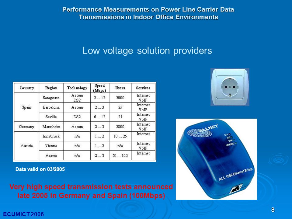 8 Performance Measurements on Power Line Carrier Data Transmissions in Indoor Office Environments ECUMICT 2006 Data valid on 03/2005 Low voltage solution providers Very high speed transmission tests announced late 2005 in Germany and Spain (100Mbps)