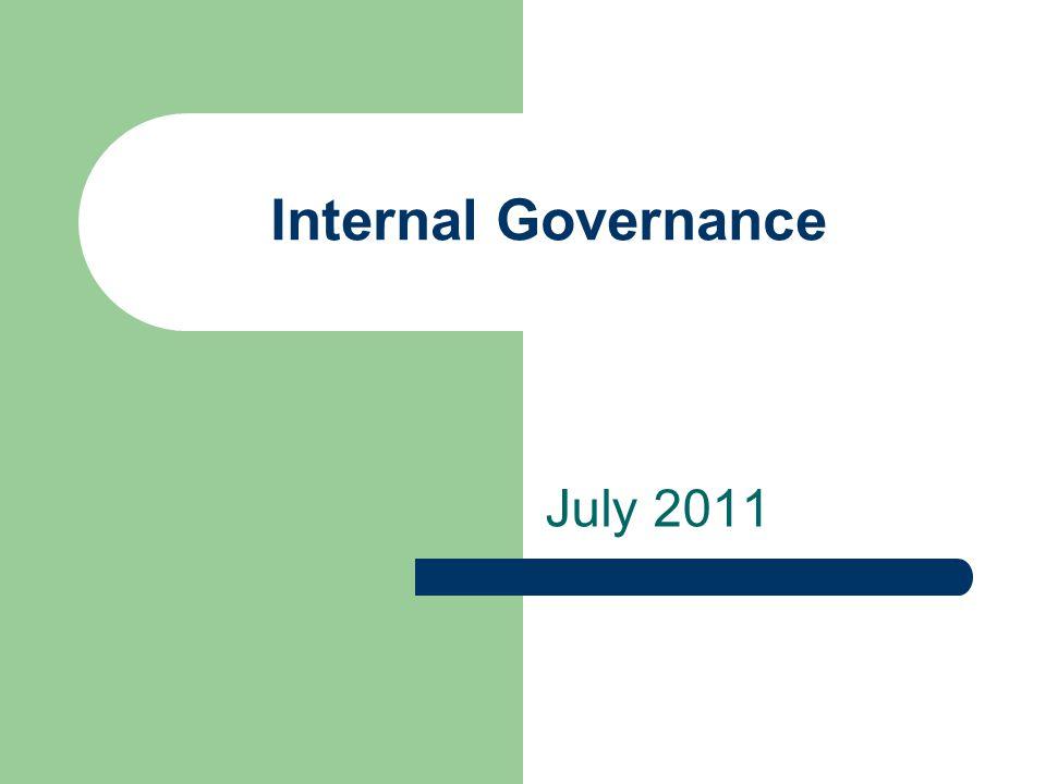 Internal Governance July 2011