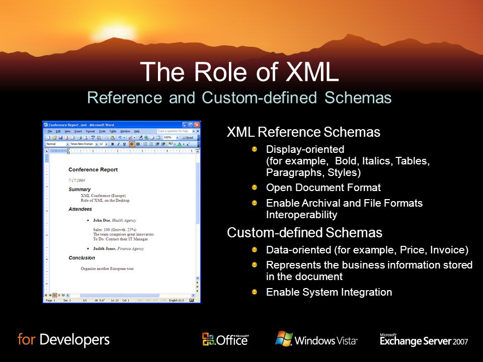 The Role of XML Reference and Custom-defined Schemas Custom-defined Schemas Data-oriented (for example, Price, Invoice) Represents the business inform