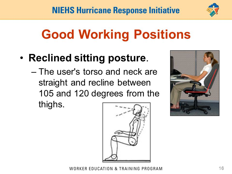 15 Good Working Positions Declined sitting posture. –The user's thighs are inclined with the buttocks higher than the knee and the angle between the t