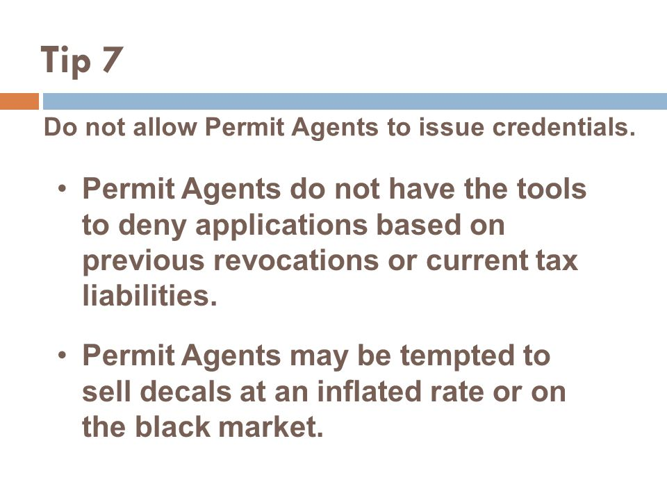 Do not allow Permit Agents to issue credentials.