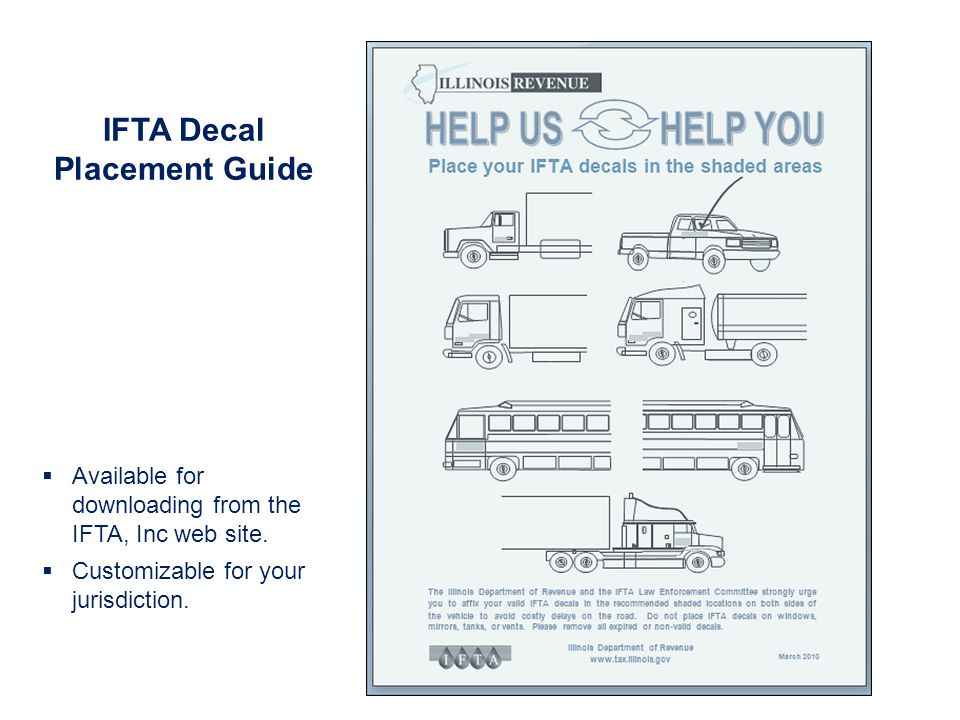 IFTA Decal Placement Guide Available for downloading from the IFTA, Inc web site.