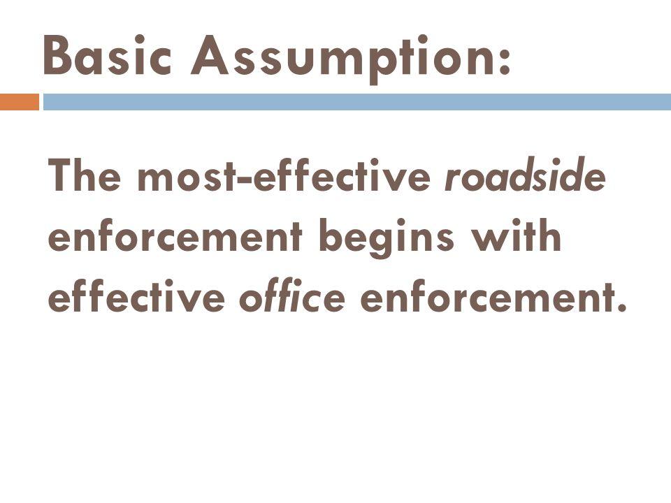 Basic Assumption: The most-effective roadside enforcement begins with effective office enforcement.