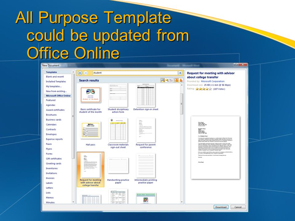 All Purpose Template could be updated from Office Online