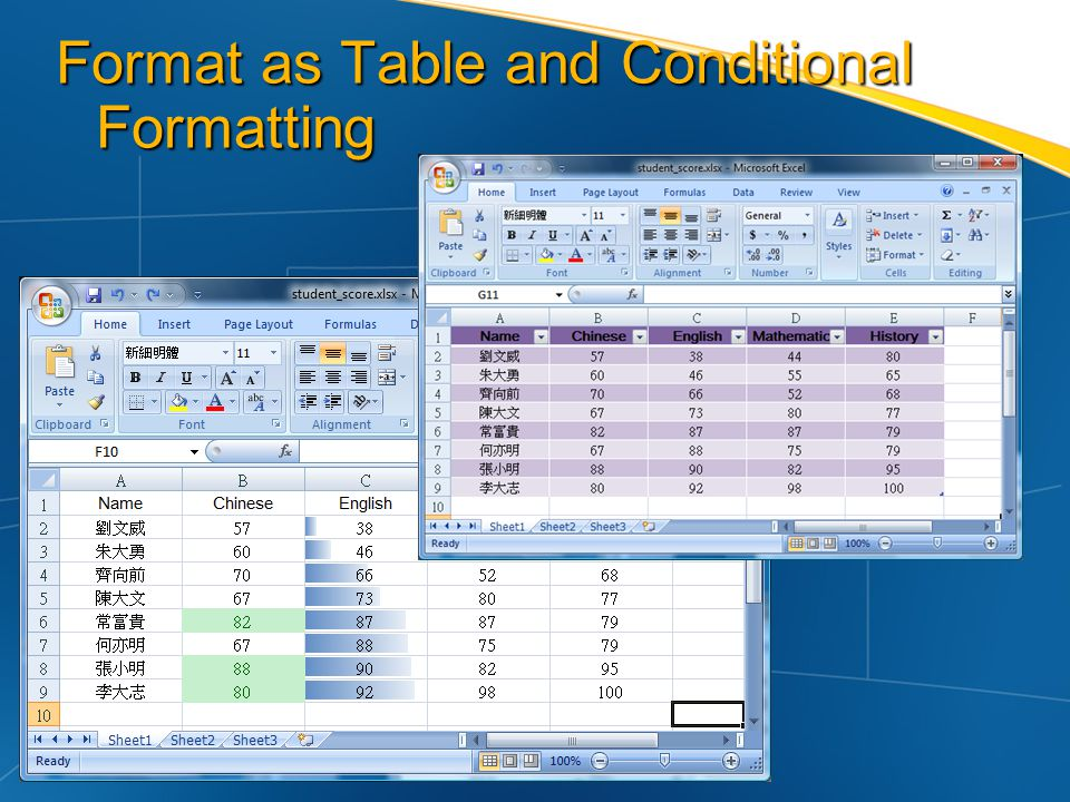 Format as Table and Conditional Formatting