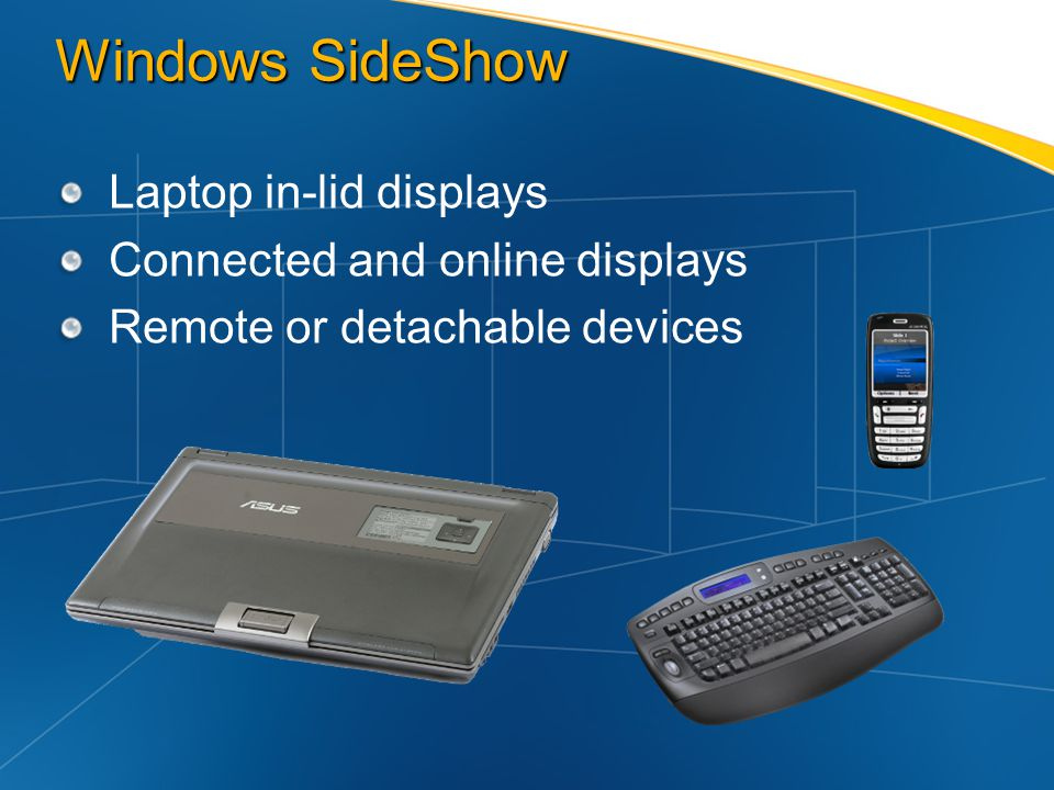Windows SideShow Laptop in-lid displays Connected and online displays Remote or detachable devices