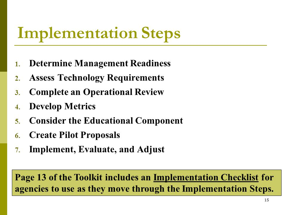 15 Implementation Steps 1. Determine Management Readiness 2.