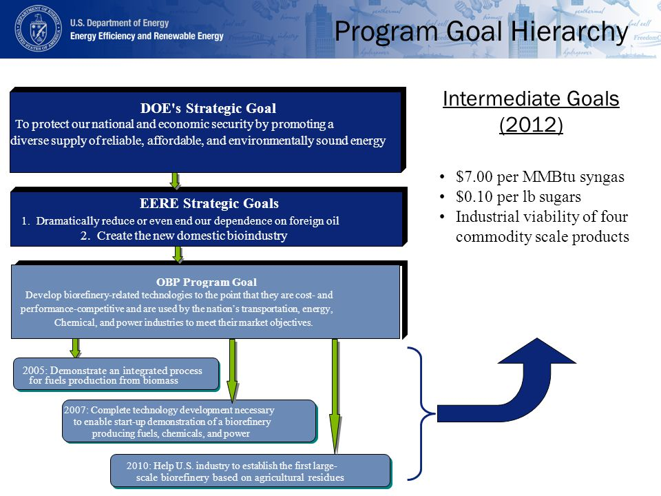 Program Goal Hierarchy $7.00 per MMBtu syngas $0.10 per lb sugars Industrial viability of four commodity scale products Intermediate Goals (2012) EERE