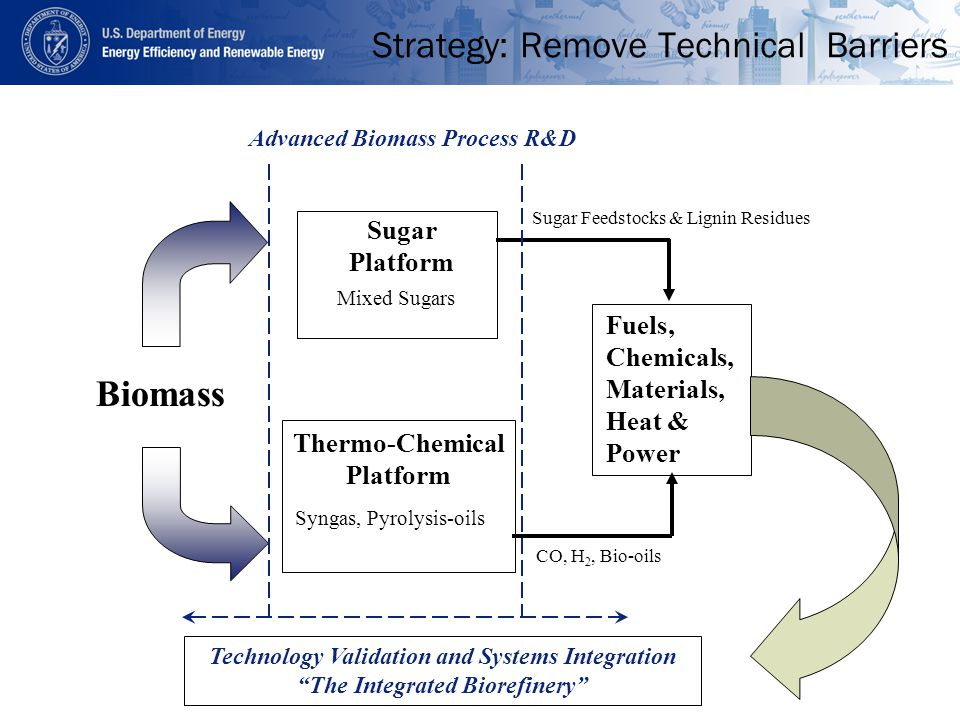 Strategy: Remove Technical Barriers Thermo-Chemical Platform Sugar Platform Biomass CO, H 2, Bio-oils Sugar Feedstocks & Lignin Residues Advanced Biomass Process R&D Technology Validation and Systems Integration The Integrated Biorefinery Fuels, Chemicals, Materials, Heat & Power Mixed Sugars Syngas, Pyrolysis-oils