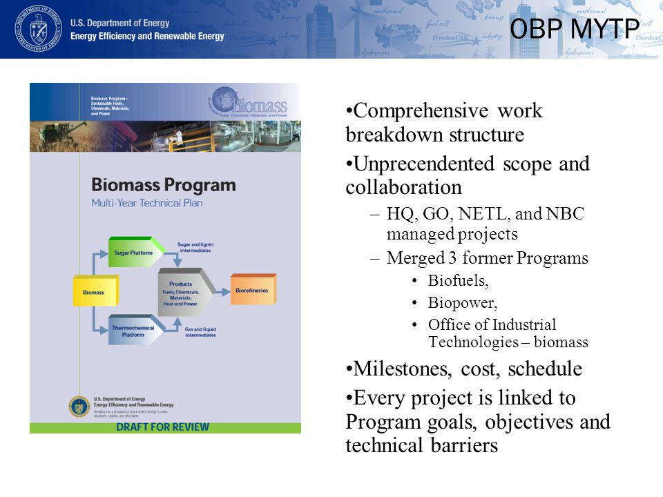 OBP MYTP Comprehensive work breakdown structure Unprecendented scope and collaboration –HQ, GO, NETL, and NBC managed projects –Merged 3 former Programs Biofuels, Biopower, Office of Industrial Technologies – biomass Milestones, cost, schedule Every project is linked to Program goals, objectives and technical barriers