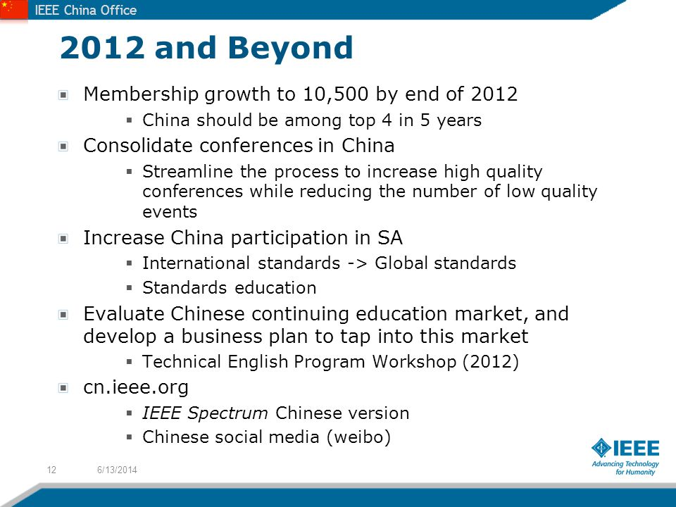 IEEE China Office 2012 and Beyond Membership growth to 10,500 by end of 2012 China should be among top 4 in 5 years Consolidate conferences in China Streamline the process to increase high quality conferences while reducing the number of low quality events Increase China participation in SA International standards -> Global standards Standards education Evaluate Chinese continuing education market, and develop a business plan to tap into this market Technical English Program Workshop (2012) cn.ieee.org IEEE Spectrum Chinese version Chinese social media (weibo) 6/13/201412