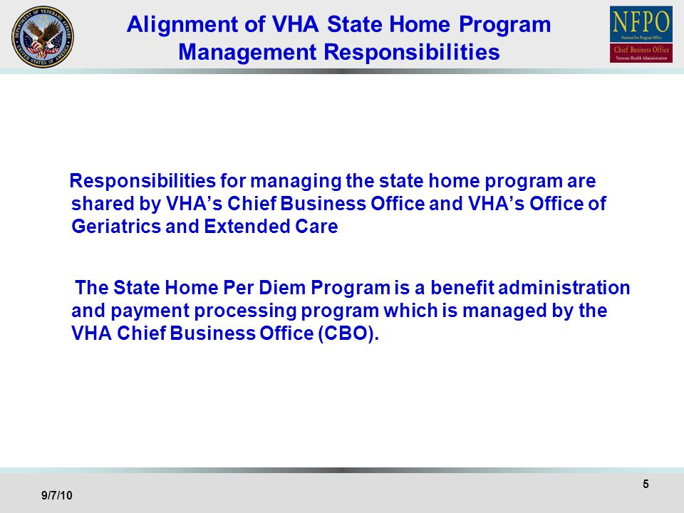 Alignment of VHA State Home Program Management Responsibilities Responsibilities for managing the state home program are shared by VHAs Chief Business